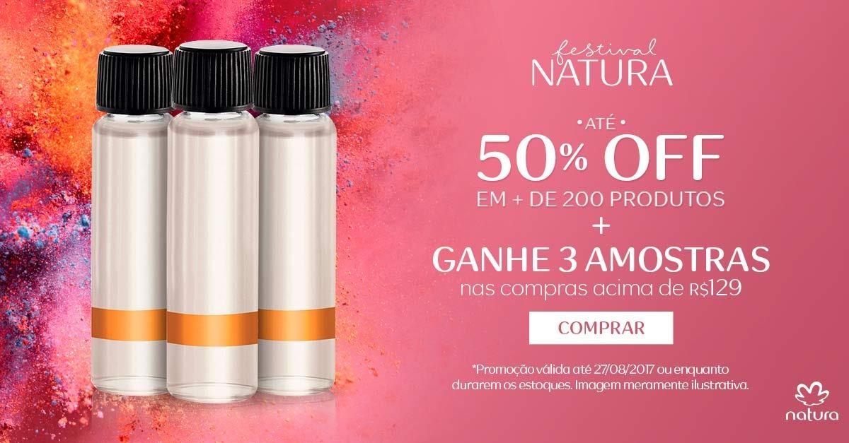 Oferta ➤ 50% OFF + Ganhe 3 amostras em suas compras + Cupom Exclusivo + Frete Grátis   . Veja essa promoção